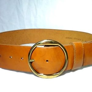 Women's Wide leather belt big buckle size small